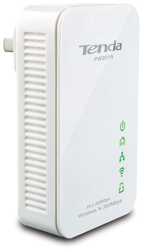 PW201A Tenda PW201A 300Mbit/s Ethernet LAN Wi-Fi White 1pc(s) PowerLine network adapter - Ent01