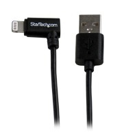StarTech.com 1m (3ft) Angled Black Apple 8-pin Lightning Connector to USB Cable for iPhone / iPod / iPad