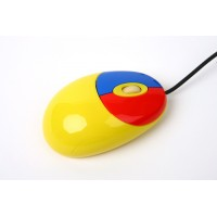 WIRED CHILDS MOUSE 2 COLOUR CLICK YELLOW