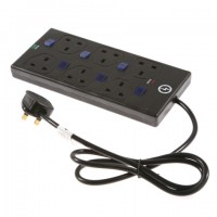 6 way black 2mtr Ind Sw Surge Protector - Clam