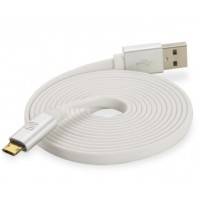 REVERSIBLE MICRO CHARGE & SYNC CABLE W LED-6F WHT